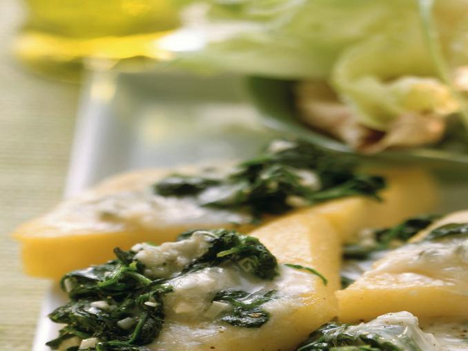 Polenta con spinaci e gorgonzola
