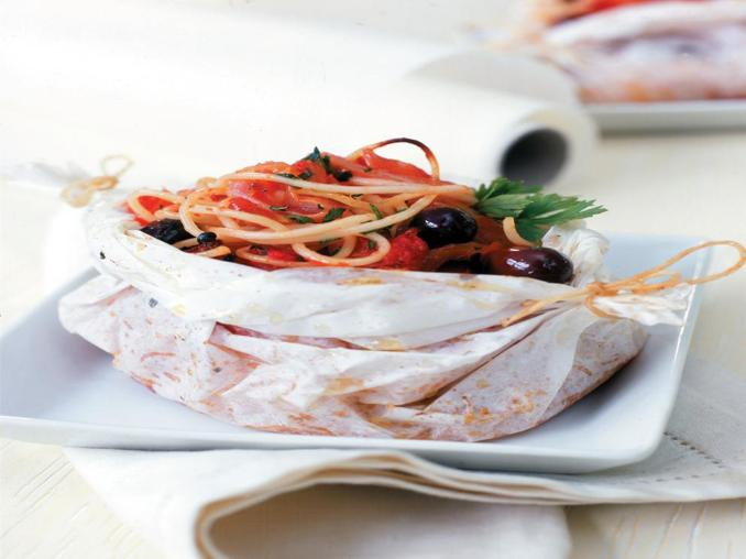 Spaghetti di mare al cartoccio