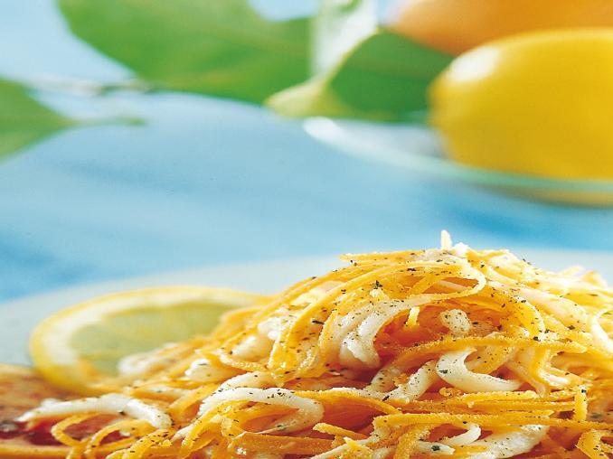 Insalata di gianchetti e carote julienne