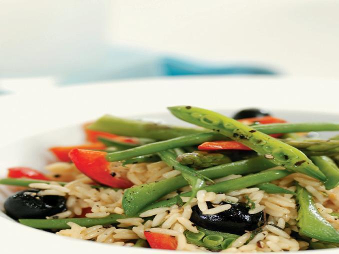 Riso con fagiolini, peperone e olive