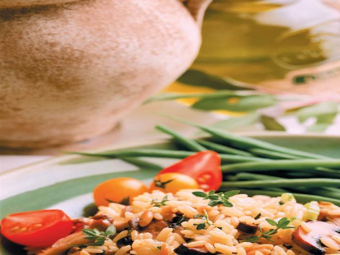 Riso pilaf con funghi e olive