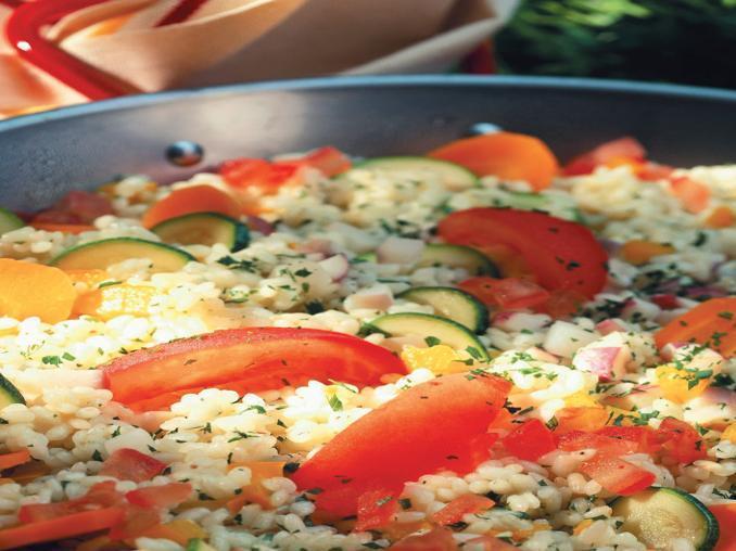 Bulgur con pomodori e taccole