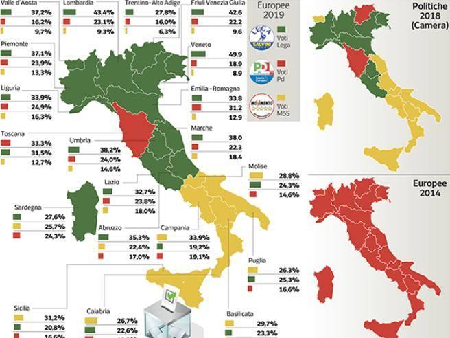Cartina Del Piemonte Politica.Elezioni La Mappa Dei Nuovi Colori Dell Italia La Lega Domina