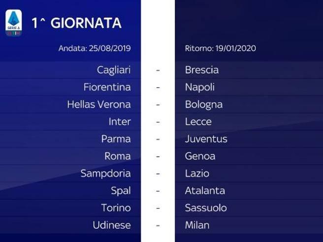 Calendario Fiscale 2020.Serie A 2019 2020 Ecco Il Calendario Completo Corriere It
