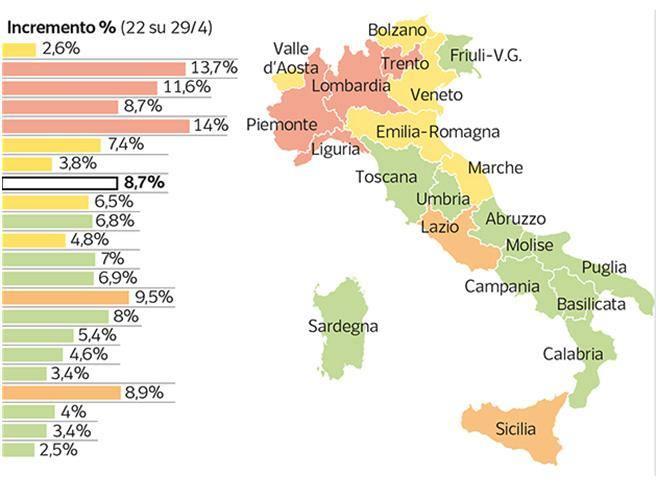 Piemonte E Lombardia Cartina.La Mappa Del Contagio Piemonte Lombardia Liguria E Trentino Sono Ancora Nella Fase 1 Corriere It