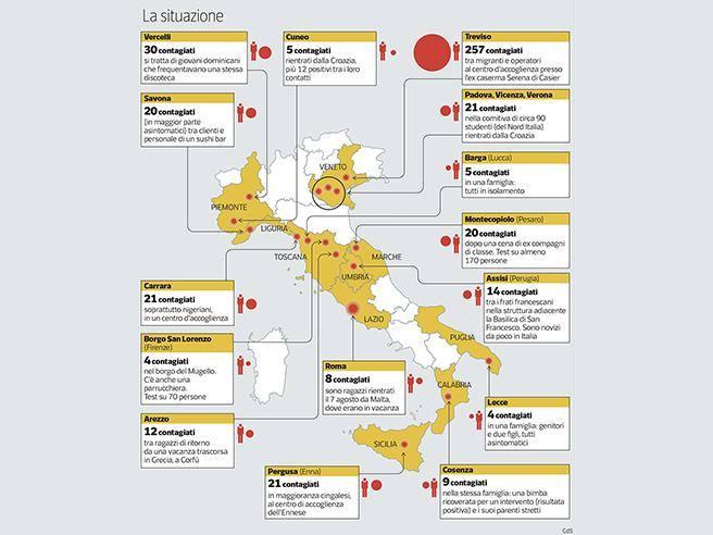 Cartina Italia Economica.I Nuovi Focolai Covid In Italia Regione Per Regione Corriere It