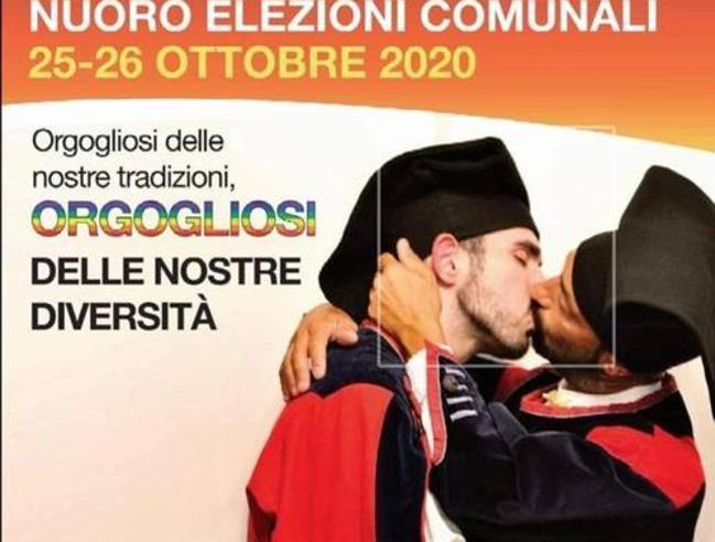Nuoro, polemiche per un bacio gay su un manifesto dei giovani Pd