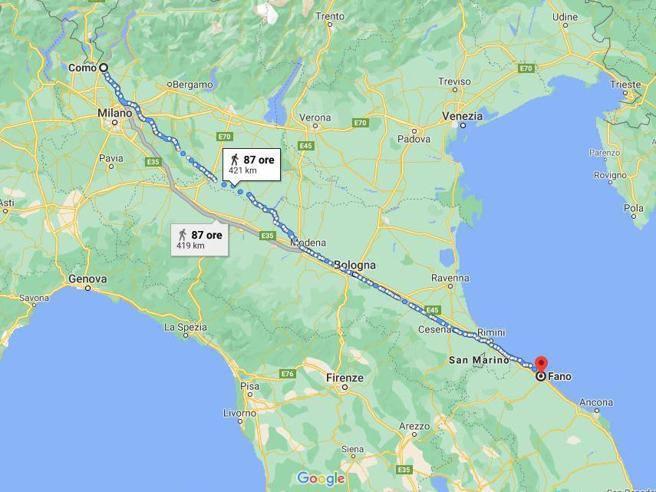 Como, litiga con la moglie e lo ritrovano a Fano: 420 km a piedi per smaltire la rabbia