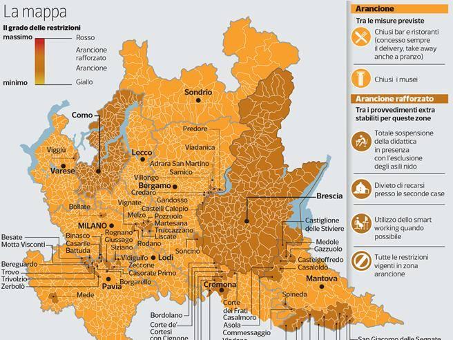 Cartina Geografica Cartina Comuni Della Provincia Di Cremona.Covid Lombardia Arancione Scuro La Mappa Dei Comuni Corriere It