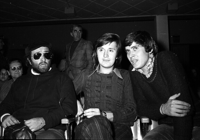 1972 - Lucio Dalla, Bobby Solo e Gianni Morandi durante la 22esima edizione del Festival (Ansa)